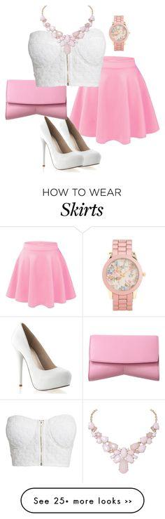"""""""Classy pink/white skirt and blouse"""" by jennaslikk on Polyvore"""