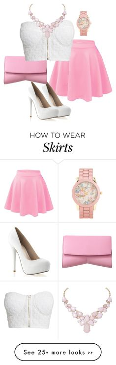 """Classy pink/white skirt and blouse"" by jennaslikk on Polyvore"