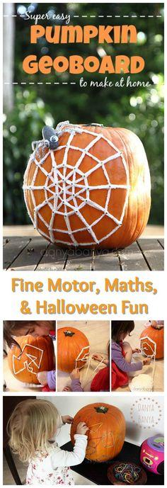 This looks so fun for a fall homeschool STEM project: Pumpkin Geoboard - fine motor, math, & Halloween fun for kids. Autumn Activities For Kids, Halloween Activities, Stem Activities, Crafts For Kids, Geometry Activities, Preschool Activities, Halloween Science, Kindergarten Themes, Preschool Curriculum