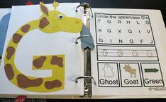 Alphabet Book for Preschoolers - Uppercase Letter G Giraffe Craft