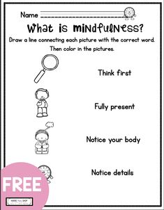 FREE mindfulness for tools for kids - free mindfulness printables and curriculum - free kindergarten social emotional learning - first grade freebie worksheets - teach mindfulness - mindful parenting - elementary school counseling What Is Mindfulness, Mindfulness For Kids, Mindfulness Activities, Coping Skills, Social Skills, Elementary School Counselor, Elementary Schools, Therapy Worksheets, Curriculum Planning