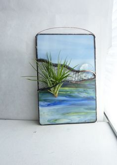 Stained Glass Panel Air Plant Holder Blue Valley by glassetc