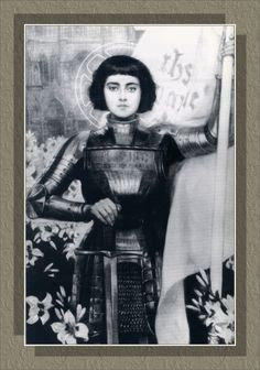 Joan of Arc by Albert Lynch (1851-1912) engraving from Figaro Illustre magazine, 1903. In black & white.