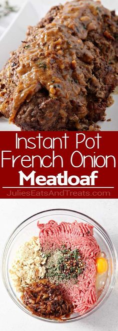 Onion {Instant Pot} Pressure Cooker Meatloaf ~ Homemade Meatloaf Topped with a Delicious Homemade French Onion Gravy all Made in Your Pressure Cooker! Easy Dinner Recipe Made In Your Instant Pot! Visit for more easy, family, Instant Pot Pressure Cooker, Pressure Cooker Recipes, Pressure Cooking, Instant Cooker, Homemade Meatloaf, Meatloaf Recipes, Meat Loaf, French Onion, Gourmet