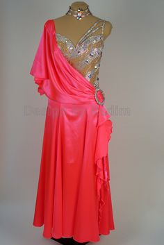 Smooth Ballroom Dress Satin with Crystal AB Stones (Front)
