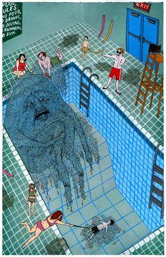 Pool Art Print by Valeriya Volkova - X-Small Psychedelic Art, Arte Peculiar, Hippie Art, Arte Horror, Wow Art, Art Hoe, Weird Art, Street Art Graffiti, Surreal Art