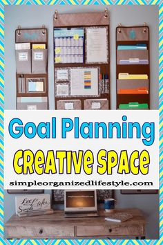 Goal planning creative space for tracking progress and setting up for success! Recipe Organization, Life Organization, Organized Desk, Getting Organized, Organizing Your Home, Organizing Tips, Writing Area, Goal Planning, House Cleaning Tips