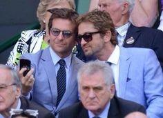 Bradley Cooper and Gerard Butler taking a selfie at Wimbledon....