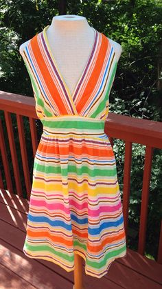 1970s Halter Top Sundress. Striped terry cloth by Purl1VintageToo, $35.00