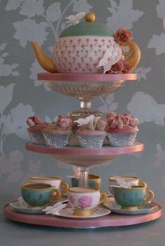Tea Party Cupcakes   ~ Hand Painted Tea Pot and cups  ~ all edible