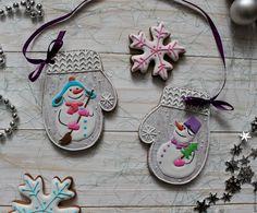 Купить Варежки новогодние - разноцветный, варежки, снеговик, снеговички, пряники ручной работы, имбирные пряники