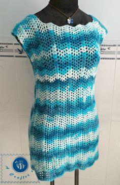 crochet candy ripple tee, crochet ripple top, crochet chevron top, crochet women top free pattern
