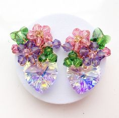Purple velvet earrings  pink green earrings  cluster by PastelGems