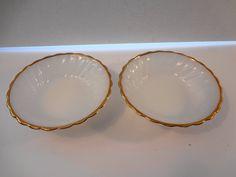 Two Anchor Hocking Suburbia Milk Glass Swirl Gold Rim Bowls Vintage by TresTresInteressant on Etsy Anchor Hocking, Pyrex, Milk Glass, 1970s, Bowls, Unique Jewelry, Handmade Gifts, Etsy, Vintage