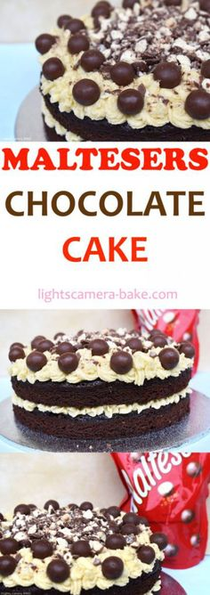 Malteser Chocolate Cake is a soft and fluffy, moist, malted chocolate cake sandwiched together and topped with malted buttercream and crushed Maltesers, Malteser Chocolate Spread and Maltesers.