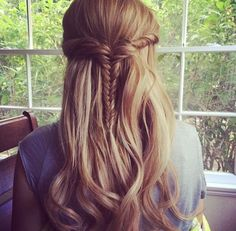 great quick every day hairstyle for long or medium length hair - fishtail braid, half up half down