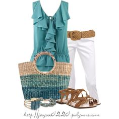 """Teal and White"" A fashion look from April 2014 featuring ruffle top, petite pants and strappy sandals. Browse and shop related looks. Summer Wear, Spring Summer Fashion, Spring Outfits, Late Summer, Style Me, Cool Style, Mode Jeans, Fashion Outfits, Womens Fashion"