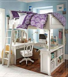 Bunk beds for teenagers girls loft bed with desk for teenagers the best of outstanding lovable . bunk beds for teenagers girls bunk beds cool Bed With Desk Underneath, Dream Bedroom, Loft Bed, Loft Spaces, Bunk Bed With Desk, Bed Desk, Dream Rooms, Girl Room, Girls Bedroom Furniture