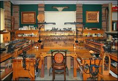 My workshop, I wish. This is some leather workshop! Woodworking Shop, Woodworking Projects, Router Woodworking, Woodworking Workshop, Workshop Studio, Workshop Design, Wood Workshop, Workshop Layout, Workshop Ideas