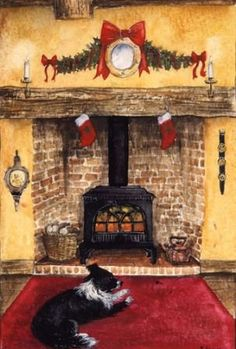 warm by the fire-watercolour-xmas card design