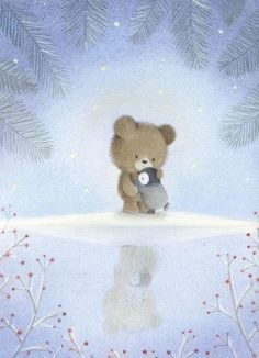 Dubravka kolanovic - winter scene / bear and penguin winter illustration, cute illustration, christmas Art And Illustration, Christmas Illustration, Illustrations And Posters, Penguin Art, Dibujos Cute, Tatty Teddy, Bear Art, Pastel Art, Whimsical Art