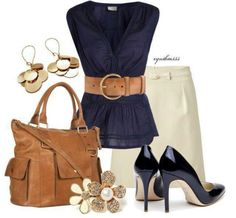 Navy  and Tan - Olivia Pope inspired look - found similar accessories for this outfit at  https://jewelryfanatic.kitsylane.com/