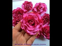 cara membuat blomming rose dari kain satin - YouTube