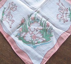 Adorable Vintage Cotton Little Baby Lamb Baby Gift Hankie; Sweet; Flawed #Unbranded