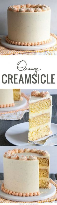 Orange Creamsicle Cake, made from scratch with no orange gelatin or instant pudding | by Tessa Huff for TheCakeBlog.com