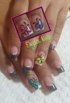 Easter or spring nails Cute Nail Art, Cute Nails, My Nails, Crazy Nails, Funky Nails, Toe Nail Designs, Nail Polish Designs, Nails Design, Butterfly Nail Art