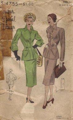 Vogue Special Design 4755 Sewing Pattern 1940s Women's Suit Skirt Jacket Unique Collar Cuffs Bust 32 Hip 35. $28.50, via Etsy.