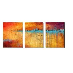 【今だけ☆送料無料】 アートパネル  抽象画3枚で1セット ブルー グリーン 錆び塗装 錆び色 プレゼント 【納期】お取り寄せ2~3週間前後で発送予定