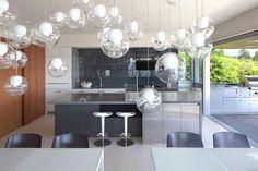 Design lámpa az étkezőben - konyha / étkező ötletek, modern stílusban