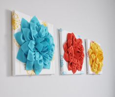 Flower Wall Art  Dahlias on Turquoise Yellow Coral by bedbuggs