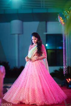Bride Nishitha in a signature style by Mrunalini Rao . Party Wear Indian Dresses, Indian Wedding Gowns, Indian Bridal Outfits, Indian Gowns Dresses, Indian Bridal Lehenga, Party Wear Lehenga, Half Saree Lehenga, Lehnga Dress, Bollywood Lehenga