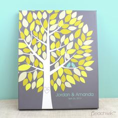 Wedding Tree Guest Book Canvas via Peachwik - Wedding Colors - Yellow, Cream, Mustard, Grey & a hint of turquoise