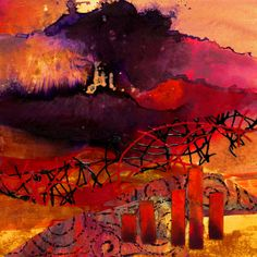 """Fantasia"" mixed media abstract landscape by Carol Nelson"