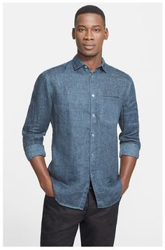 Extra Trim Fit Roll Sleeve Linen Sport Shirt... #fashion