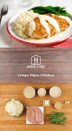 Crispy dijon chicken, creamy Parmesan cauliflower mash and tender green beans. Chef Recipes, Asian Recipes, Dog Food Recipes, Dinner Recipes, Cooking Recipes, Healthy Recipes, Healthy Meals, Dinner Ideas, Cooking Kale