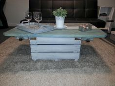 A funky tricolour coffee table with storage in base
