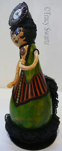 Nova, Steampunk Gourdess Gourd Doll- Love her dolls- Local Toledo Artist