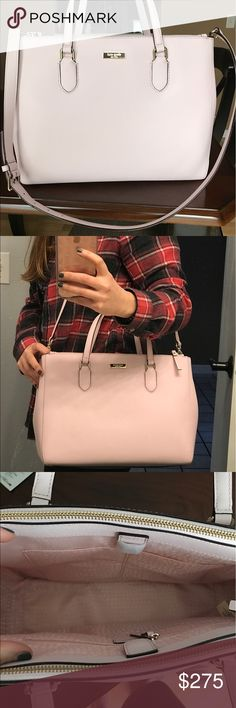 NWT Kate Spade Laurel Way LeighAnn Pink Blush Hobo I purchased this particular item from KateSpade.com and wasn't expecting it to be as large as this was.  This has never been worn, with the exception of it being on my body for the picture you see. It's also slightly more pink than a 'blush', but still very cute - I'm just not a large bag girl!  A note on the fabric: I have this same material in another style of Kate Spade (have been using it for over a year) and it STILL looks brand new…