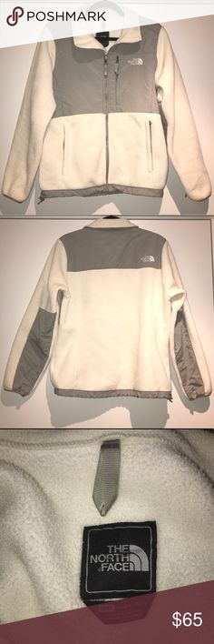 The North Face Denali Jacket Ivory / White & Gray The North Face Women's Denali Jacket Ivory / White with Gray • Medium • Excellent Condition except for barely noticeable black mark on tag as shown in the third photo The North Face Jackets & Coats