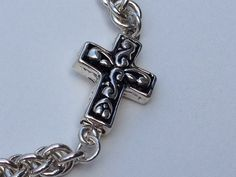 Chainmaille Sterling Silver Jens Pind  Cross Clasp Bracelet