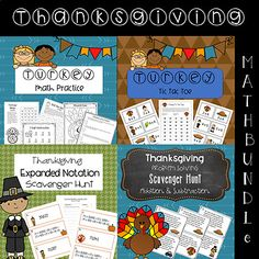 These printable pages and activities will keep your students engaged while reviewing Math topics. The Thanksgiving theme could be used all of November or in the week prior to Thanksgiving. This Bundle includes 4 of my terrific Math Resources: Expanded Notation Scavenger Expanded Notation, Fall Boards, Thanksgiving Math, Math Practices, Guided Math, Addition And Subtraction, Math Resources, I Fall, November