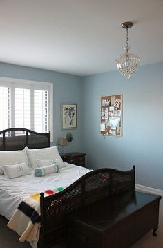 Simple bedroom, blue wall