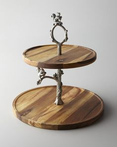 Two-Tier Tray with Squirrel Stem by Vagabond House at Horchow.