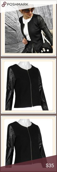 """Black Knit /Pleather Jacket.      NWT This is so adorable. Black quilted knit/pleather sleeves and zip-up front. Measures armhole to armhole 17"""" and is 20"""" in length. Great layering piece yet will be warm.🎀🎀 Boutique Jackets & Coats"""