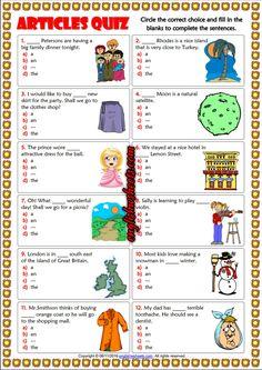 Articles ESL Printable Multiple Choice Quiz For Kids Article Grammar, Grammar Quiz, Grammar Lessons, English Quiz, English Lessons, Learn English, Worksheets For Kids, Printable Worksheets, Articles For Kids