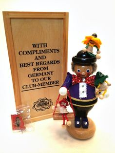 German Steinbach Nutcracker Figurine Mini Puppet Player Club Member Wooden Box #Steinbach